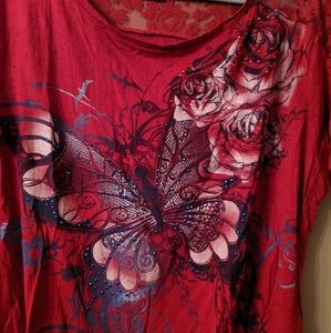 Sparkling Butterfly Tee with Lace Detail